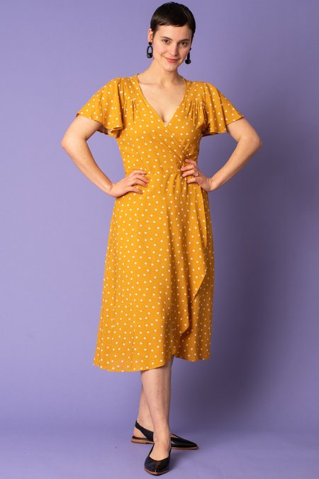 Cameo Polka Dot Wrap Dress - Mustard