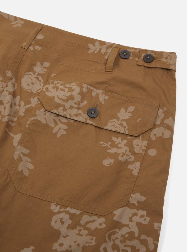 Universal Works Loose Short - Khaki Flower Print Poplin