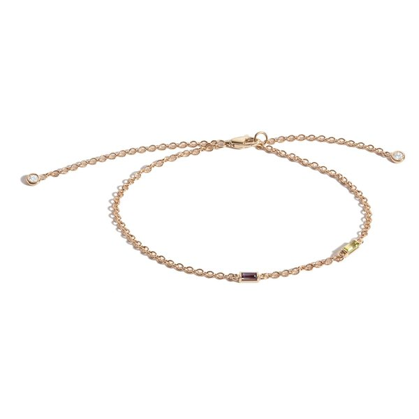 Shahla Karimi Birthstone Baguette Bracelet with Diamond Dangles