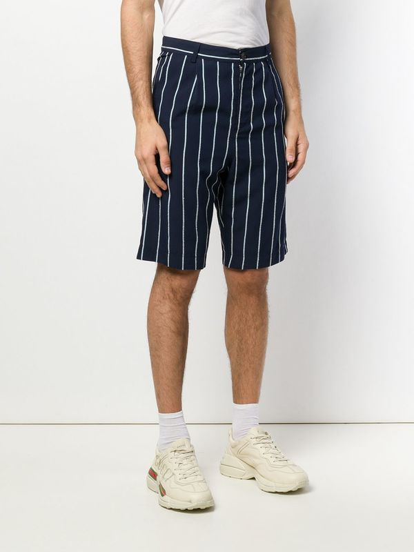 Henrik Vibskov Participant Shorts - Navy/Light Blue Stripe