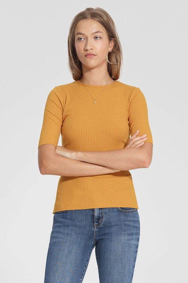 Nobody Denim Luxe Rib Tee - Saffron