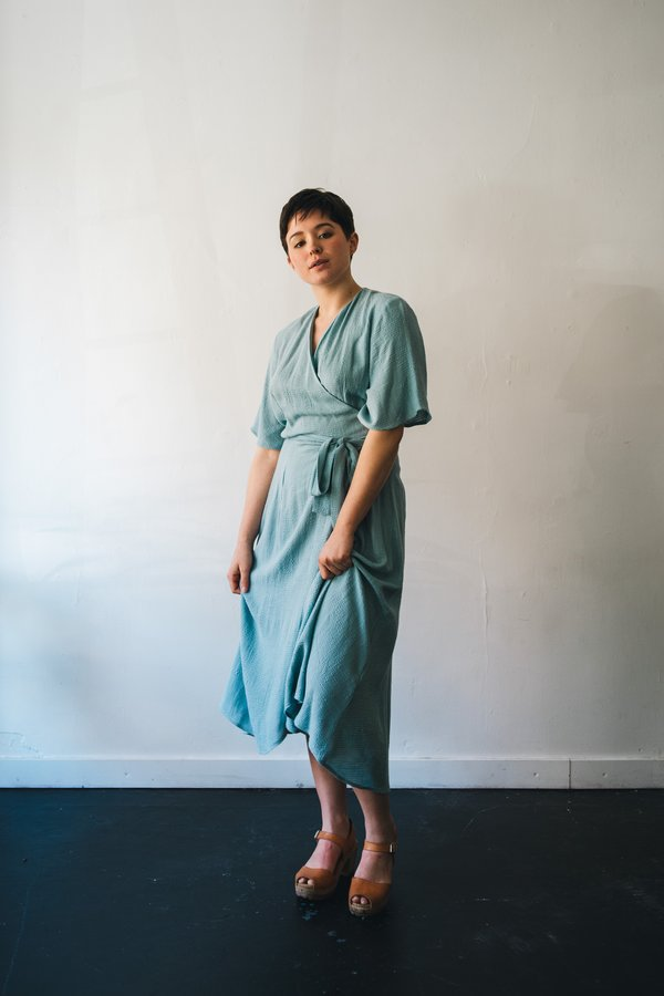 North Of West Linen Waffle Wrap Dress