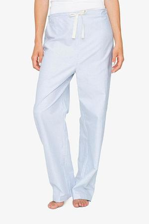 The Sleep Shirt Set: Ruffle Camisole and Lounge Pant - Blue Oxford Stripe