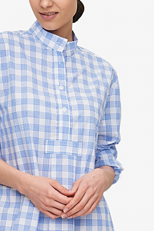 The Sleep Shirt Short Sleep Shirt - Blue/White Open Plaid