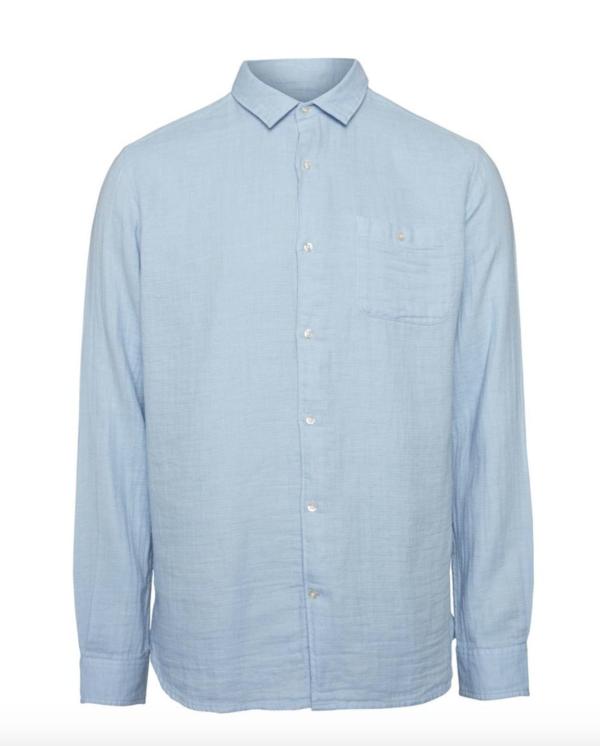 knowledge cotton apparel double layer shirt - light blue