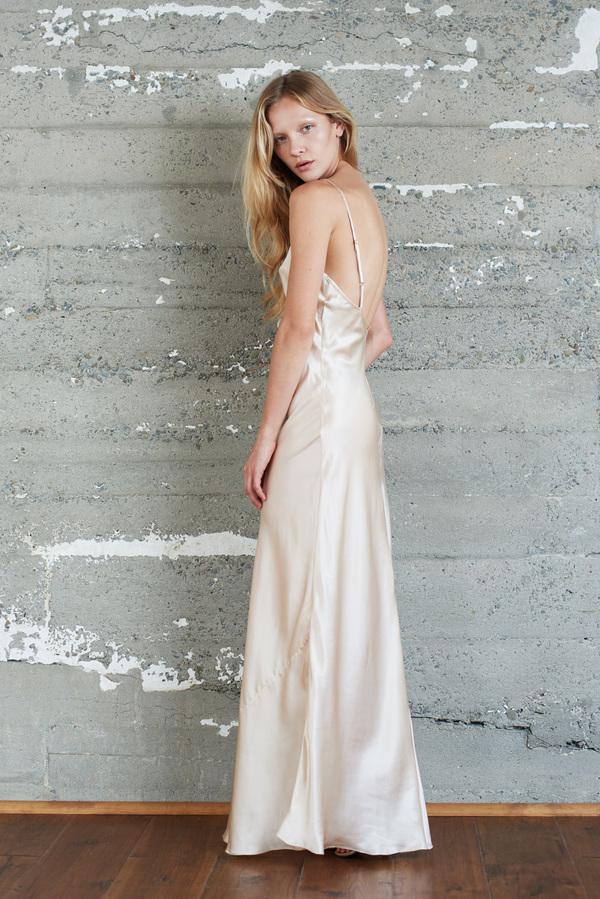 Kamperett Rosalind Silk Charmeuse Slip Dress | Champagne
