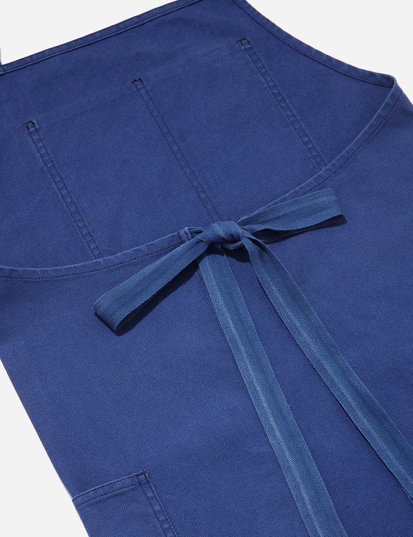 Vetra Dungaree Wash Twill French Workwear Apron - Hydrone Blue