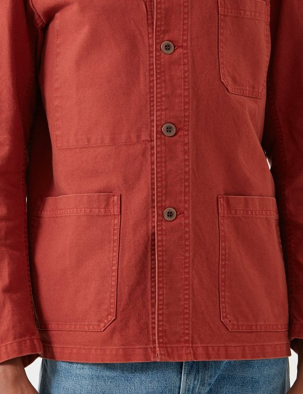 Vetra Dungaree Wash Twill French Workwear Jacket 5-Short - Quince Red