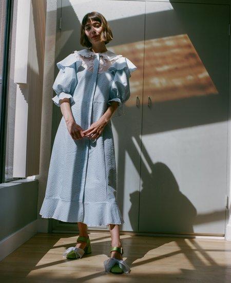 Suzanne Rae Collared Puff Sleeve Dress - Light Blue