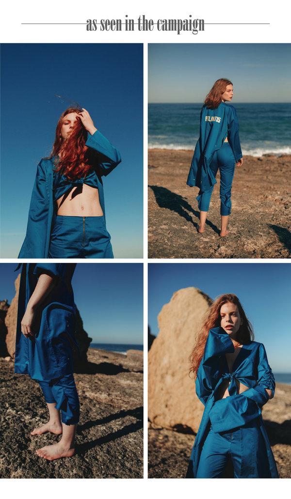 Siz Serrated Trousers - Petrol Blue