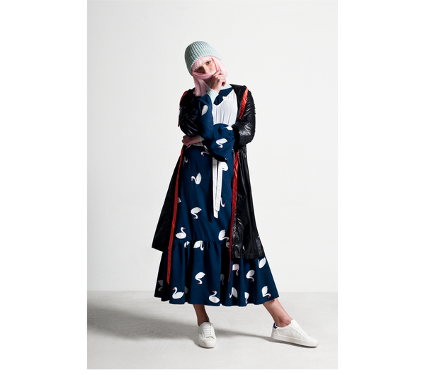 SIZ MAIA DRESS - Blue/Swan