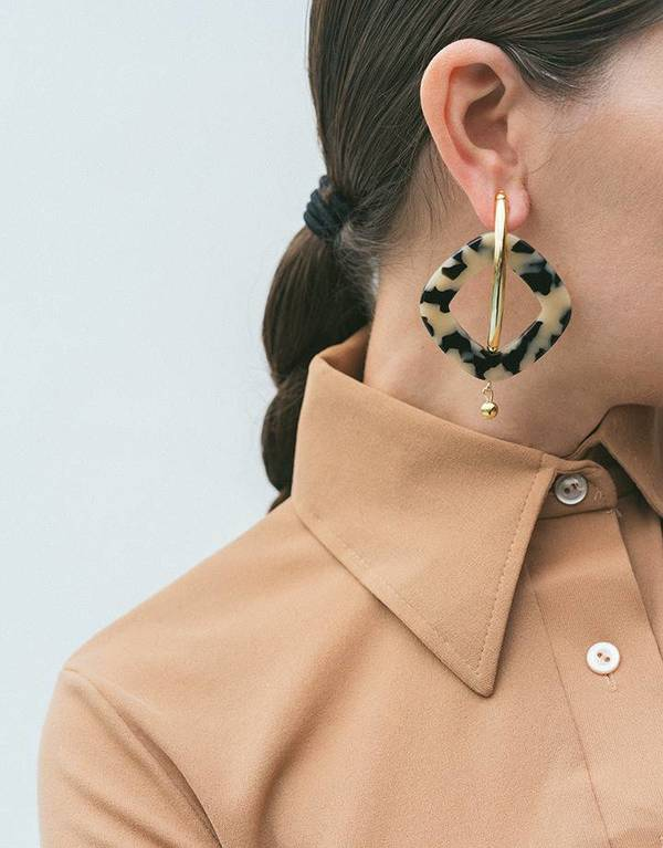 Rachel Comey Realm Earrings - Dalmatian/Gold