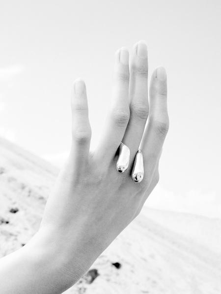 LLY Atelier Double Drop Ring - Silver