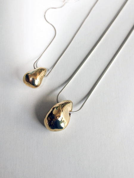 LLY Atelier Large Bean Necklace - Brass/Sterling Silver
