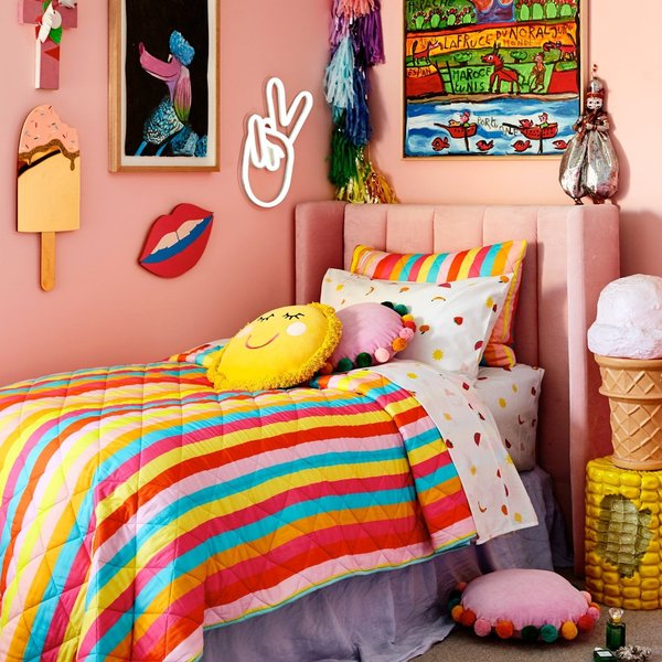 KIP & CO Rainbow Striped Quilted Pillowcase - Multi