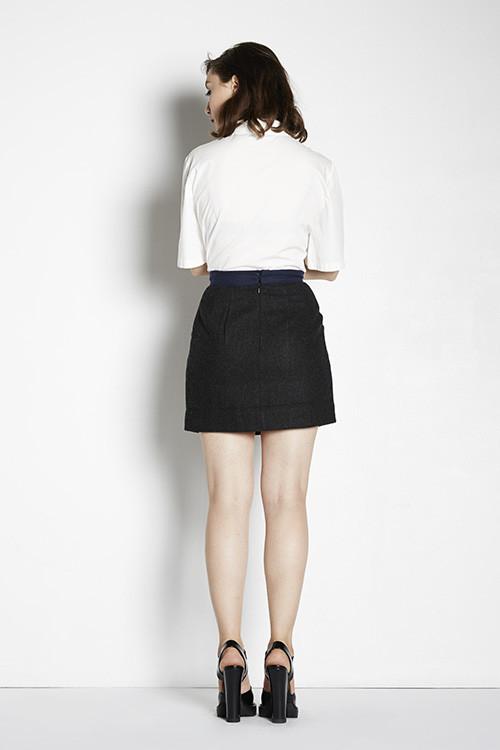 7115 by Szeki Tweed Contrast Mini Skirt
