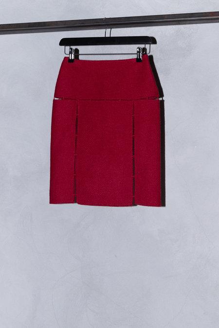 Vintage PRADA SHETLAND WOOL MINI SKIRT - RED