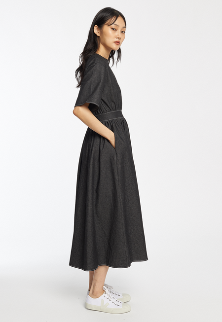 ROCKET X LUNCH Denim Flare Long Dress - Black