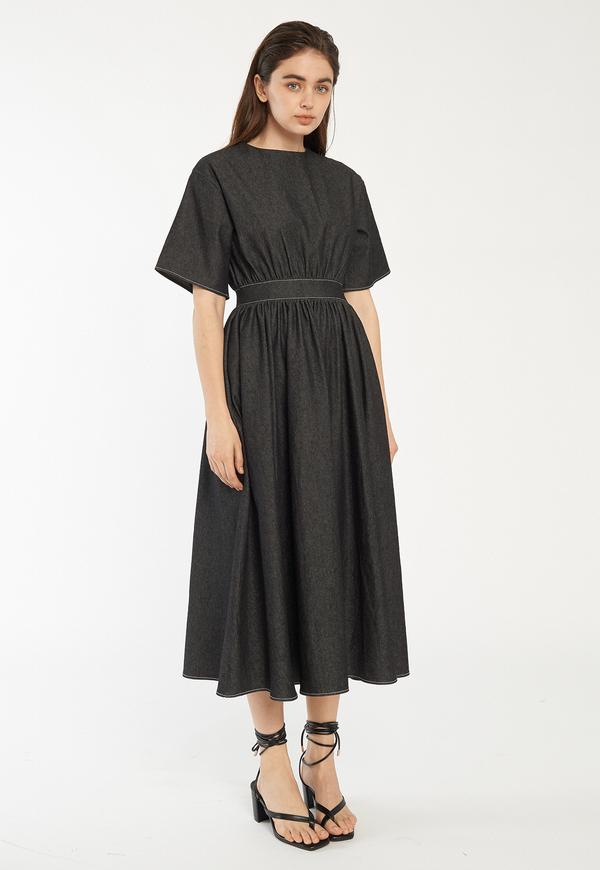 ROCKET X LUNCH Denim Flare Long Dress - Black