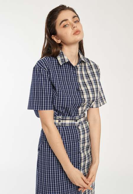 ROCKET X LUNCH Block Shirt - Navy Check