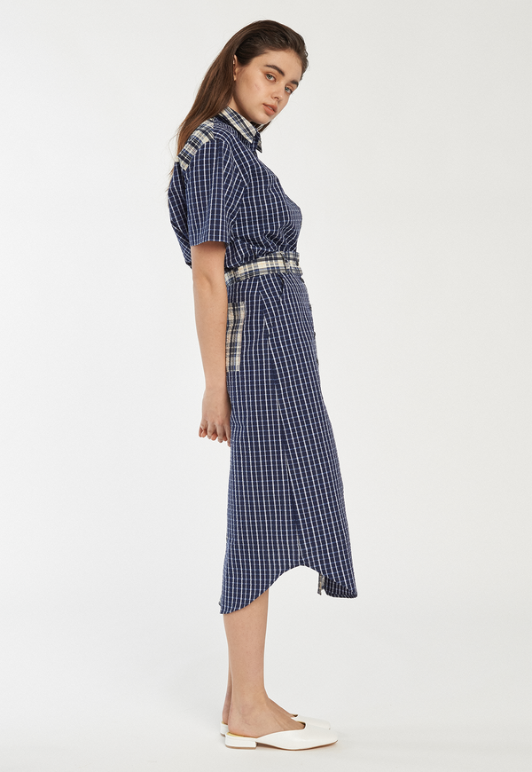 ROCKET X LUNCH Button Down Skirt - Navy Check