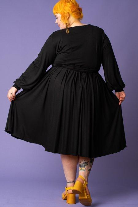 JIBRI Boat Neck Flare Dress - BLACK
