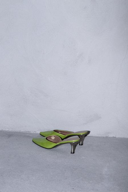 Vintage STUART WEITZMAN PATENT MULES - Lime Green
