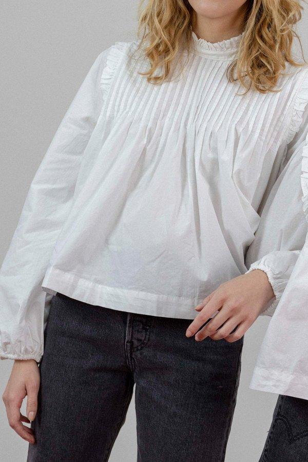 f352b41ebb2d08 Ganni Plain Cotton Poplin Blouse - White | Garmentory