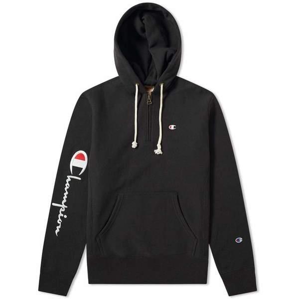 20bb1258 Champion Reverse Weave Hooded Half Zip Sweatshirt - black   Garmentory