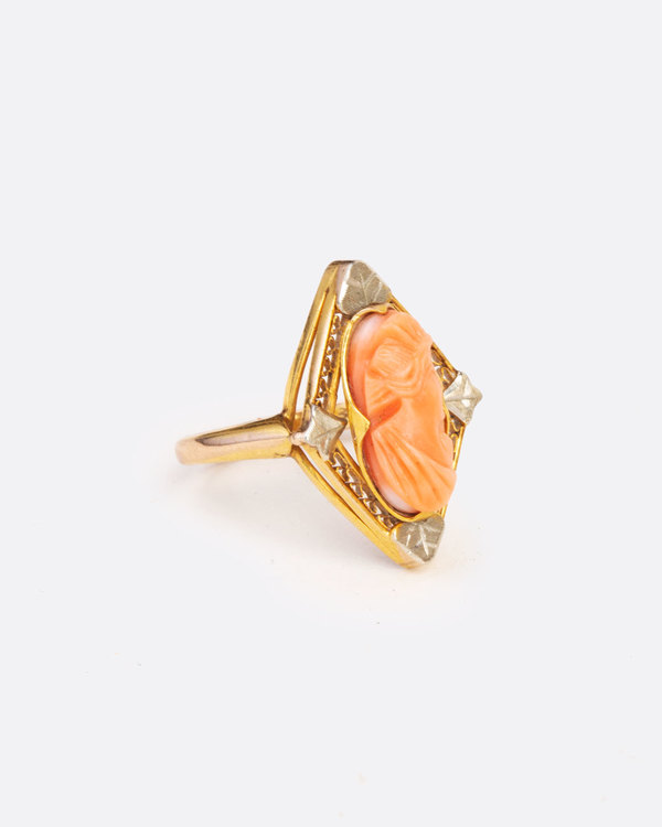 Love Adorned Vintage Coral Cameo Ring
