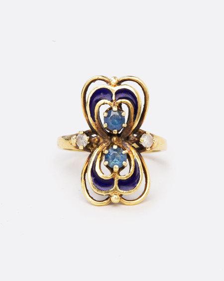 Love Adorned Vintage Enamel Blue Sapphire Ring