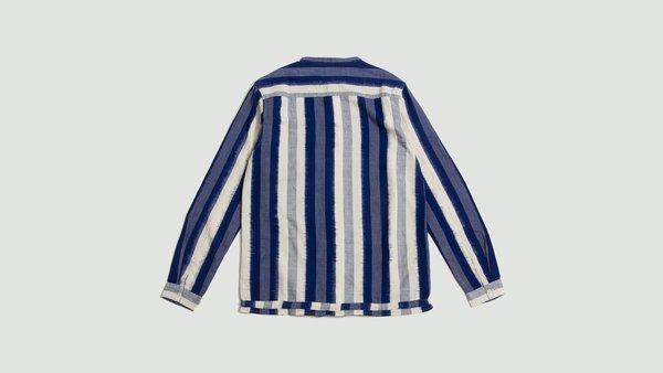 YMC Beach Shirt - Blue Striped Ikat Weave