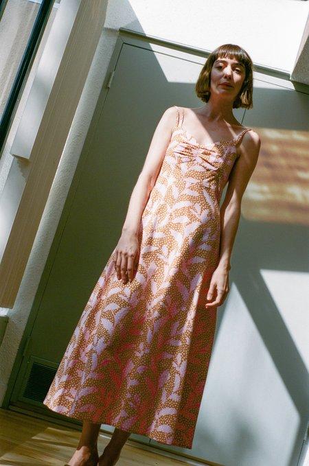 No.6 Bali Sundress - Apricot/Pink Dotted Leaves
