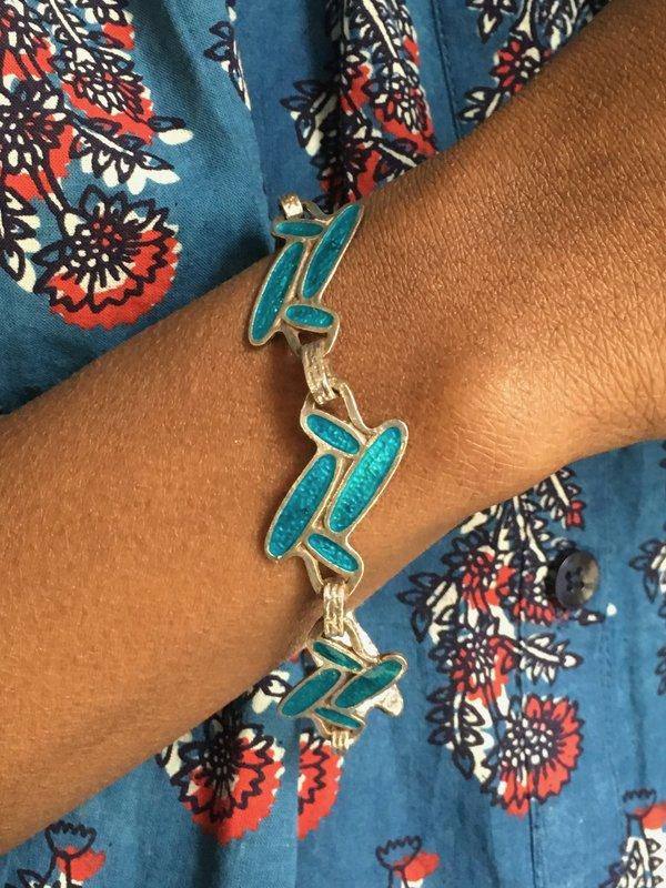 KC Vintage Silver And Enamel Bracelet