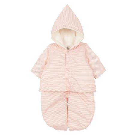 KIDS Petit Bateau Convertable 3 In 1 Sleeping Bag, Snowsuit And Jacket - Pink/White Stripes