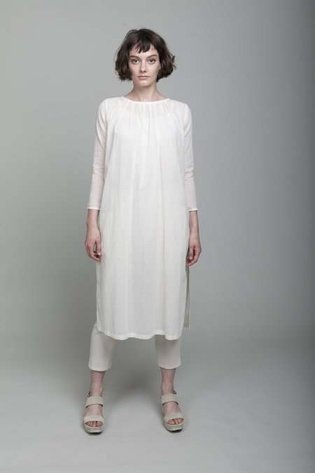 Evam Eva Tuck Long Tunic - Antique White