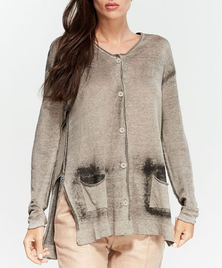 Transit hand painted linen button down cardigan - STONE