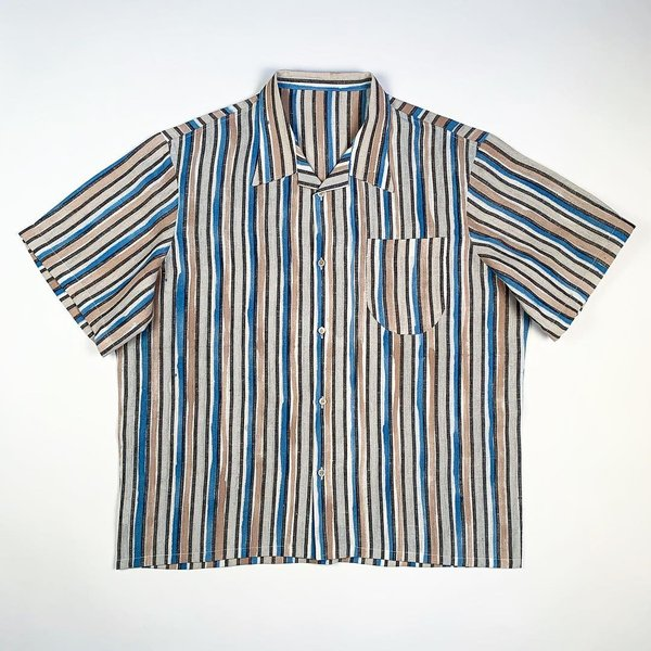 Tony Shirtmakers Hand Painted Brush Stroke Camp Shirt - Stripe