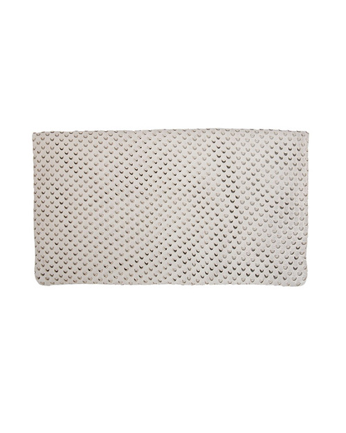 Clare V. Cream Cut Out Leather Foldover Clutch