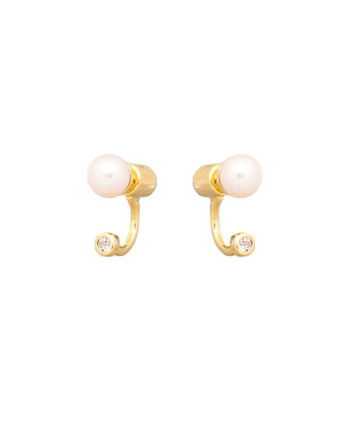 Pamela Love Single Gravitation Ear Jacket in Gold and White Pearl