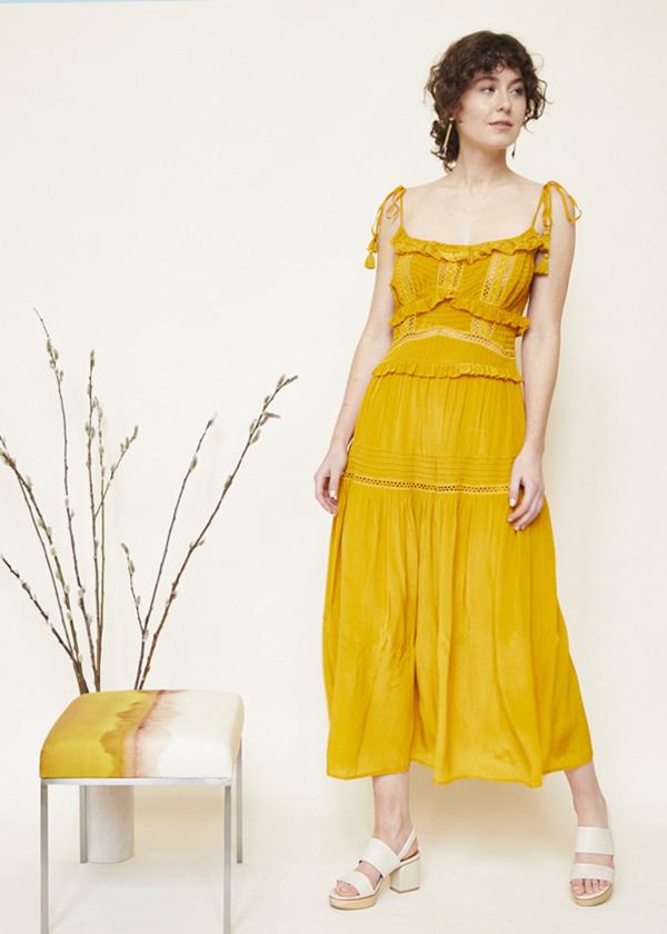 SEA Poppy Pintuck Sleeveless Dress - Mustard