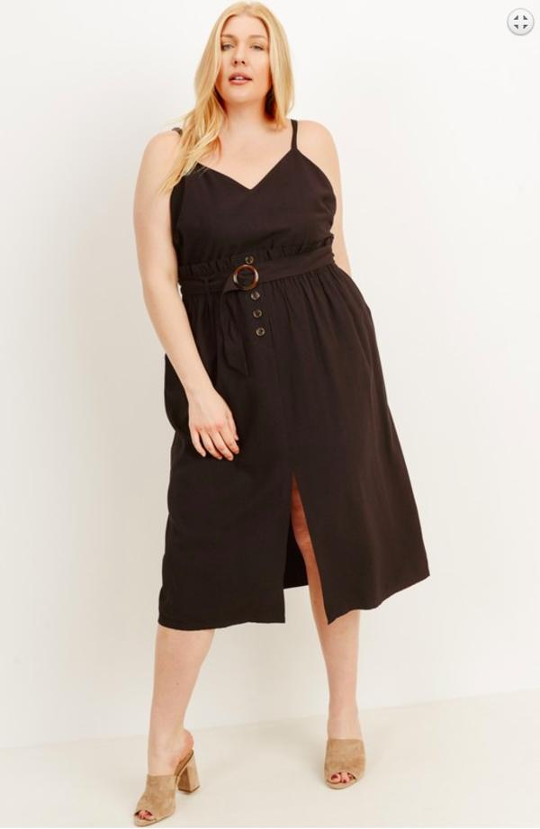 Gilli Plus Size Belted Slit Dress - Black on Garmentory