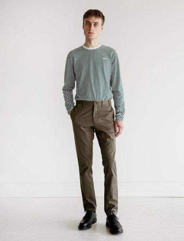 Adsum Long Sleeve Stripe Tee - White/Green