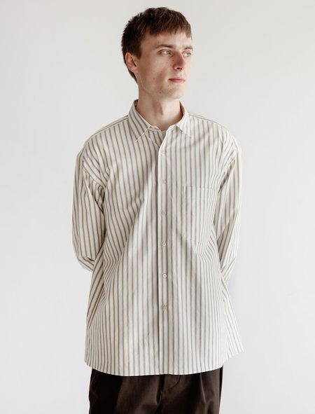 Auralee Washed Finx Twill Stripe Shirt - White Multi