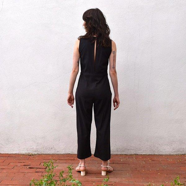 Ali Golden Silk Noil Slit Back Jumper - Black