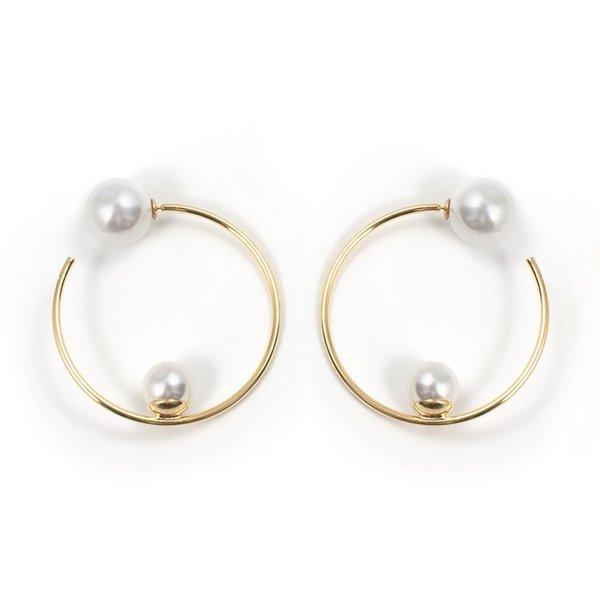 Joomi Lim Medium Hoop Earrings with Affixed Pearls & Pearl Backs - Gold/White