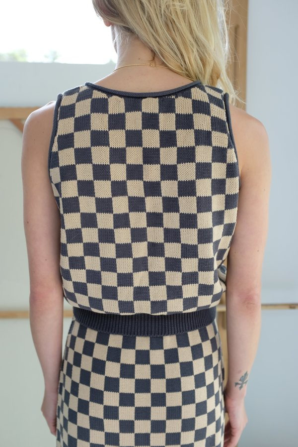 Beklina Knit Tank - Charcoal Check