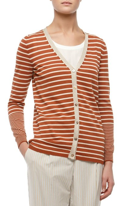Maliparmi lurex trim striped cotton cardigan - brown