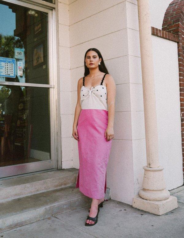 Ajaie Alaie Todas Dress - navy polka dot/vibrant pink