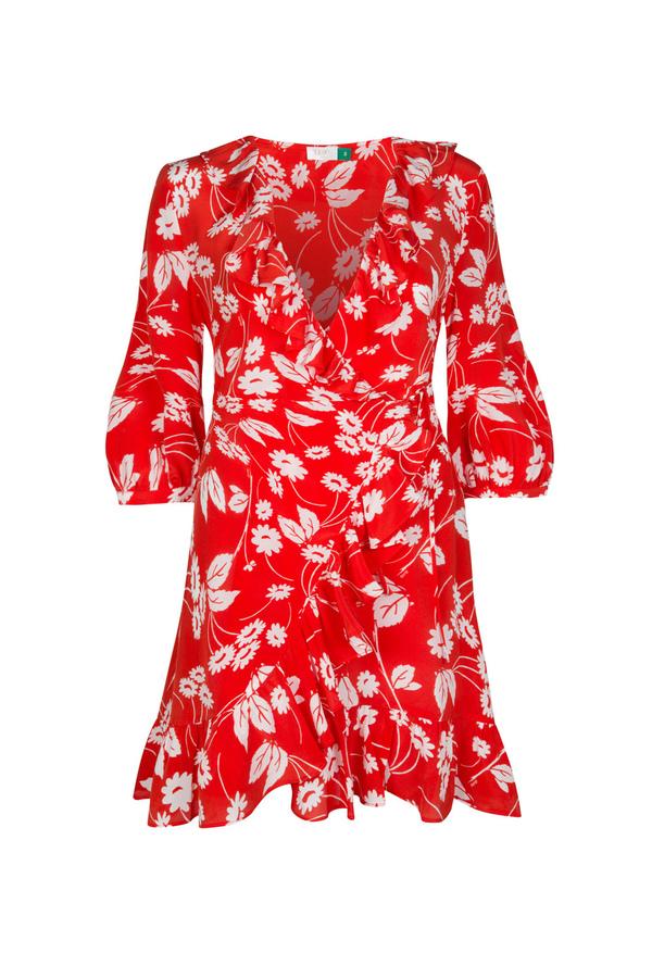 Rixo silk wrap dress floral print - orange